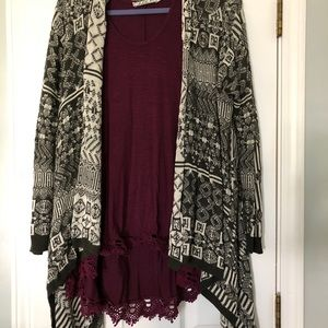 Cardigan sweater and tank top